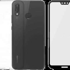 2SKINZ Set TPU Transparent μαζί με Tempered Glass Full Face Huawei P20 Lite Black