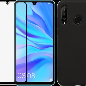 2SKINZ Set TPU Transparent μαζί με Tempered Glass Full Face Huawei P30 Lite Black