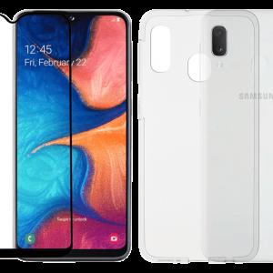 2SKINZ Set TPU Transparent μαζί με Tempered Glass Full Face Samsung Galaxy A20E Black