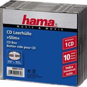 HAMA 51275 Slim CD Jewel Case, pack of 10, Transparent/Black