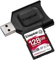 KINGSTON MLPR2/128GB CANVAS REACT PLUS 128GB SDXC CLASS 10 UHS-II U3 V90 + USB READER