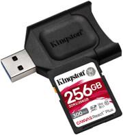 KINGSTON MLPR2/256GB CANVAS REACT PLUS 256GB SDXC CLASS 10 UHS-II U3 V90 + USB READER