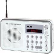 AKAI DR002A-521 USB PORTABLE RADIO SILVER WHITE