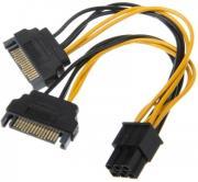 AKASA AK-CBPW13-15 2X15-PIN SATA POWER TO 1X6-PIN PCIE ADAPTER CABLE 15CM