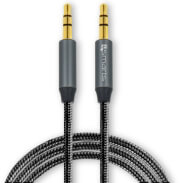 4SMARTS 3.5MM STEREO AUDIO CABLE SOUNDCORD 1M FABRIC BLACK
