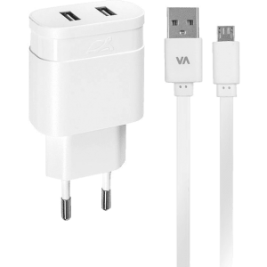 RIVACASE Wall Charger Dual USB 2.4A White – (VA4122WD1)