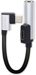 4SMARTS PASSIVE USB TYPE-C TO USB TYPE-C & 3.5MM AUX AUDIO SPLITTER SOUNDSPLIT ANGLED 12CM SILVER