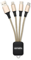 4SMARTS 3IN1 CABLE GLOWCORD 6CM FABRIC GOLD