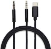 4SMARTS ACTIVE USB TYPE-C & 3.5MM AUX TO 3.5MM AUX AUDIO CABLE SOUNDCORD DIGITAL 1.2M FABRIC BLACK