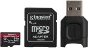 KINGSTON MLPMR2/64GB CANVAS REACT PLUS 64GB MICRO SDXC CLASS 10 UHS-II U3 V90 A1 + USB READER