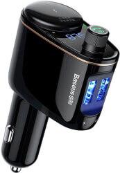 BASEUS TRANSMITER FM LOCOMOTIVE BLUETOOTH MP3 CAR CHARGER BLACK
