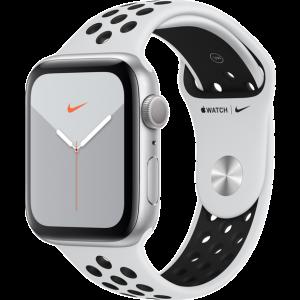 APPLE Watch Series 5 Nike 44mm Silver με Λευκό Nike Sport Band