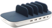 4SMARTS CHARGING STATION FAMILY EVO 63W WITH PD, WIRELESS CHARGER AND CABLES NAVY / WHITE