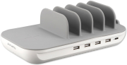 4SMARTS CHARGING STATION FAMILY EVO 63W WITH PD, WIRELESS CHARGER AND CABLES GREY / WHITE