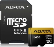 ADATA PREMIER ONE V90 MICRO SDXC 64GB UHS-II U3 CLASS 10 COLOR BOX WITH ADAPTER